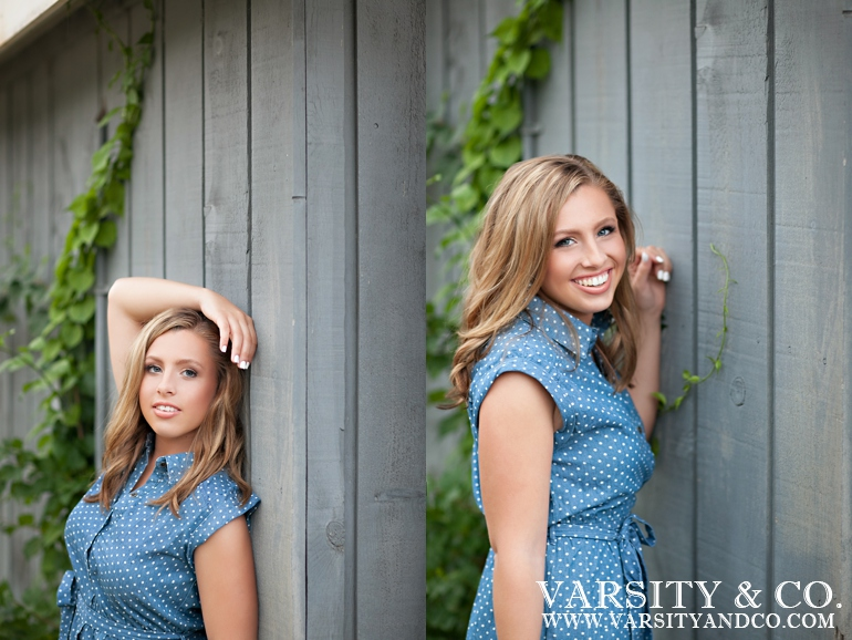 girl in blue polka dot dress senior picture