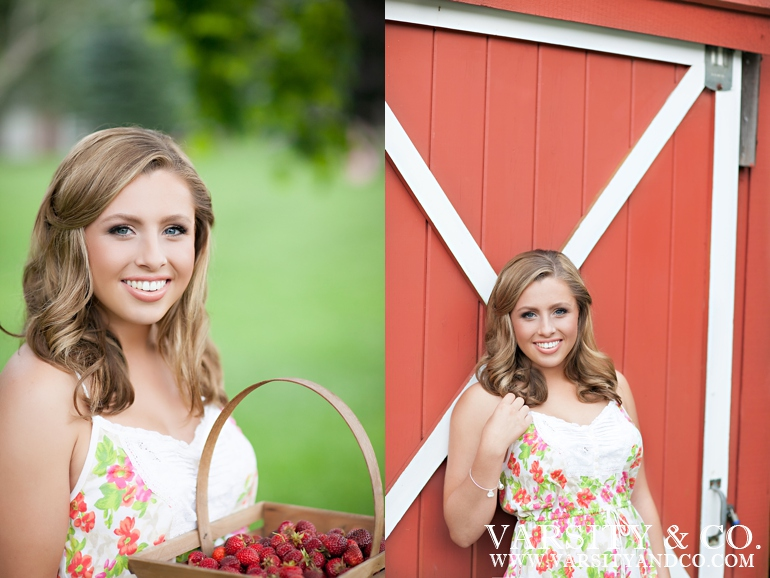 Girl in front of a red barn senior pictures